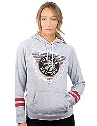 NBA Women 's Forro Polar con Capucha Pullover Sudadera Varsity diseño de Rayas, Logotipo del Equipo Gris