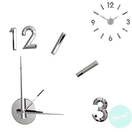 Dcasa - Reloj de pared adhesivo efecto 3D color plata