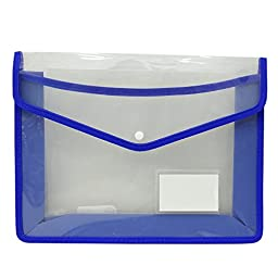 A4 Polypropylene Documents Folder Clear Envelope File Transparent Folder Press Stud Document Wallet Folder Pack of 5