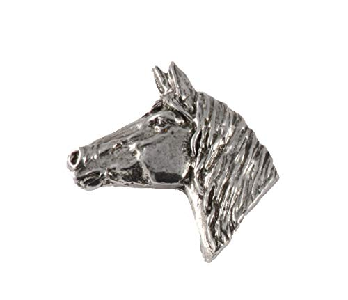 Horse Head Mammal Pewter Lapel Pin, Brooch, Jewelry, M138