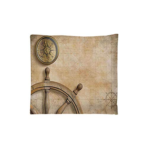Indoor/Outdoor Square Seat Cushion,Comfort Memory Foam Chair Pad,Nautical,Steering Wheel and Compass Vintage Map Setting Captains Chamber Finding Treasure Print,Beige,Fit for Most of Chairs