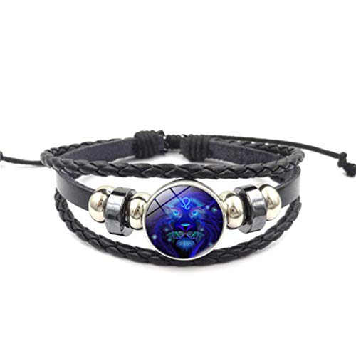 Myhouse Twelve Constellation Natural Stone Multilayer Woven Beaded Pu Leather Bracelet for Women Girls,Leo