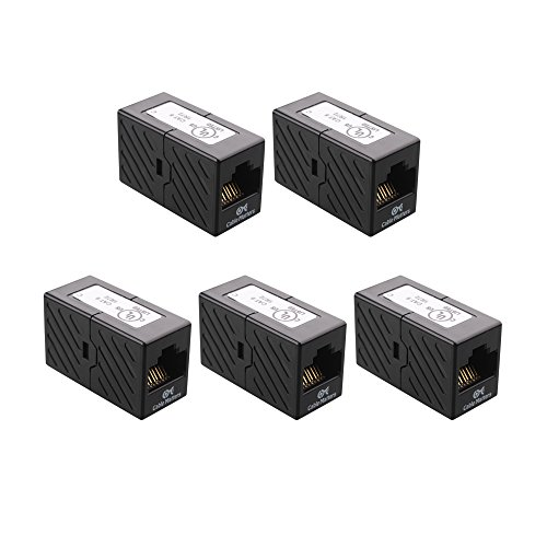 [UL Listed] Cable Matters 5-Pack Ethernet Coupler (RJ45 Coupler / Cat5e Cat6 Coupler) in Black