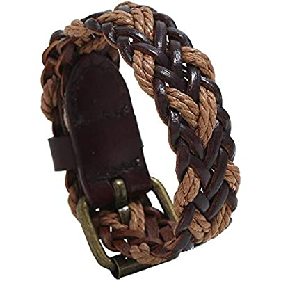 Jubuk Men s bracelet Fashion Vintage Retro Leather Men Bracelet Cuff Braided Rope Charm Casual Wrap Bangle Weave Wristbands Belt Ethnic Women Jewelry Estimated Price £21.18 -