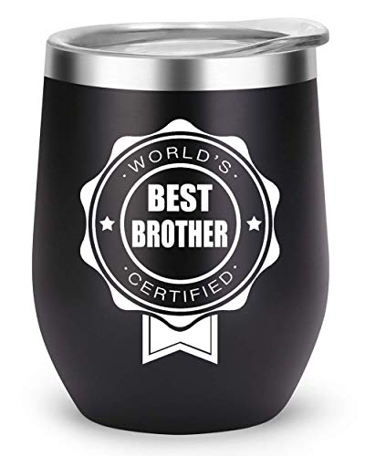 Brother Gifts Funny Travel Tumbler, Birthday Decorations Supplies, Christmas Gift Present for Brothers, World's Best Brother Certified Mug (Black, Best Brother)