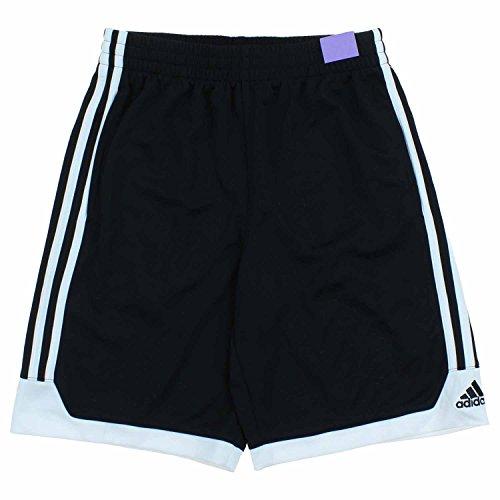 Adidas Athletic Basketball Shorts for Boys (Medium (10-12), Black/White)