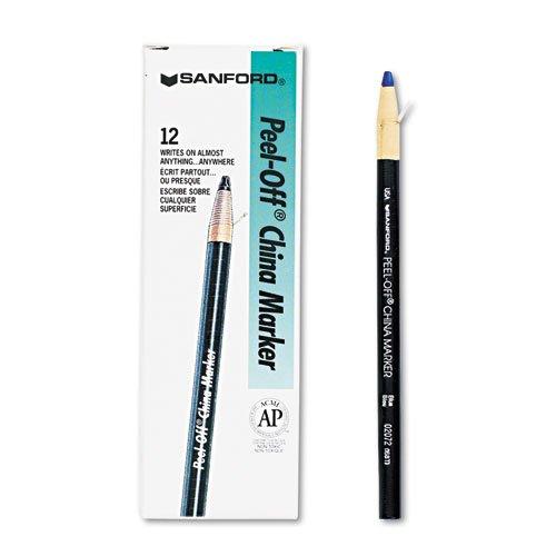 Sharpie Peel-Off China Markers, Blue, Dozen