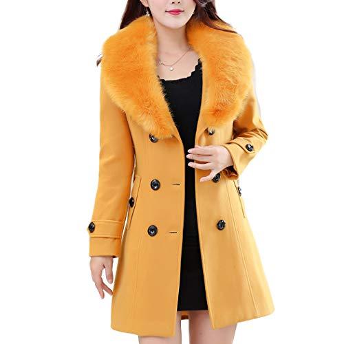 en Manteau Femme Longue Hiver Col Grande Fourrure Jaune avec Taille HANMAX Ceinture Manches Laine Automne de Longue dtt8q