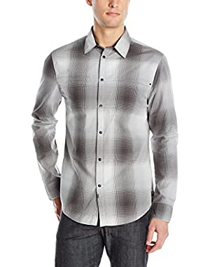 Calvin Klein Jeans Men's Wave Ombre Plaid Woven