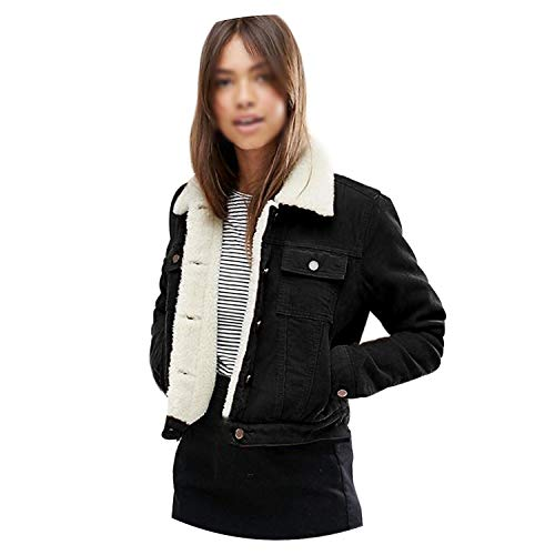 Princesser Winter Warm Thick Women Corduroy Jacket Lambs Wool Single Breasted with Pockets ()