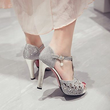 LvYuan Mujer-Tacón Robusto-Otro Zapatos del club-Sandalias-Informal-Materiales Personalizados-Negro Plata Oro Black