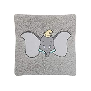 Disney Dumbo Plush Appliqued Decorative Sherpa Pillow, Grey, Aqua, Yellow