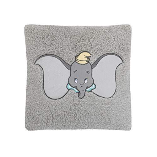 Blanket Sherpa Bedding Appliqued Baby - Disney Dumbo Plush Appliqued Decorative Sherpa Pillow, Grey, Aqua, Yellow