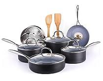 COOKSMARK 12-Piece Gery Ceramic Nonstick Pots and Pans Set, Scratch Resistant Hard Anodized Exterior Cookware Set with Bamboo Kitchen Utensils and Steamer Racker, Balck