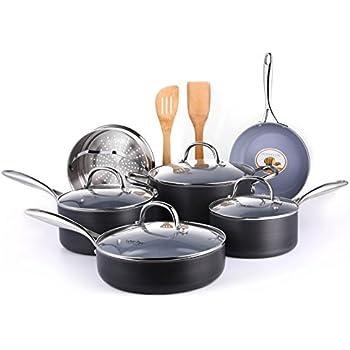 Amazon Com Cooksmark 12 Piece Gery Ceramic Nonstick Pots