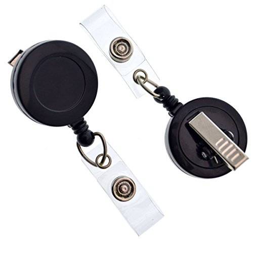 100 Pack - Bulk Premium Black Retractable Name Badge Reels with Alligator Swivel Clip & Vinyl Card Holder Strap by Specialist ID