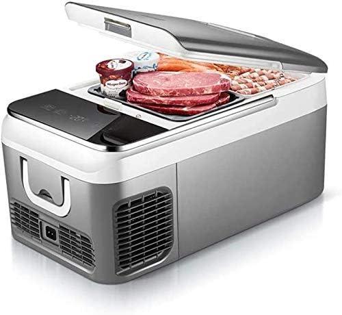 (18L、26L)ミニ冷蔵庫、ポータブル車の冷蔵庫、フリーザーコンプレッサー冷凍暖房、静かな省エネモード、旅行釣り屋外および家庭用,グレー,26L