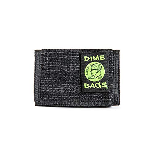 (Dime Bags Trifold Wallet Durable Hempster Tons Of Pockets Hook and Loop Closure (Black) )