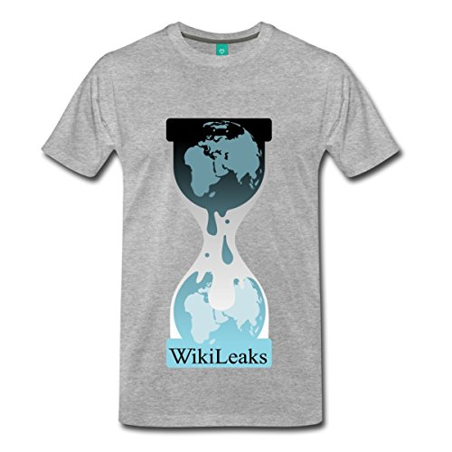 Spreadshirt WikiLeaks Official Logo Men's Premium T-Shirt, XL, Heather Gray