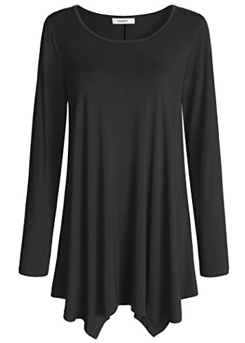 Esenchel Women's Long Sleeve Tunic Top for Leggings Flared Shirt M Black