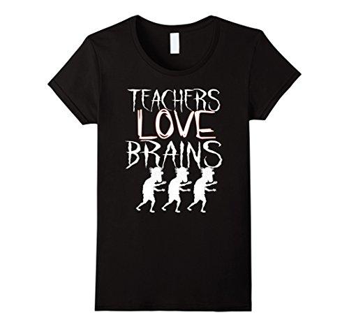Womens Teachers Love Brains T-Shirt Funny Teachers Halloween Gift XL Black