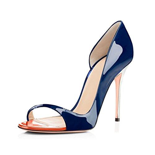 Talon Marine Ouvert Talon elashe Haut Chaussures 12cm Aiguille de Escarpins Femms Mariage Soirée Bout xqxwtIO1