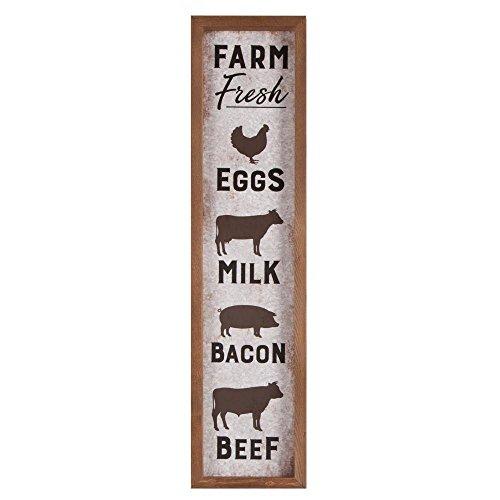 P Graham Dunn Farm Fresh Eggs Milk Bacon Beef Animals 8 x 33 Inch Faux Tin & Pine Wood Wall Plaque Sign by P Graham Dunn