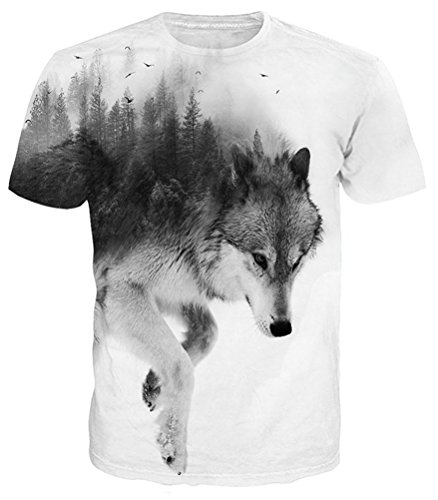 Idgreatim 3D Forest Wolf Tops White and Black Short Sleeve Tshirt for Boys