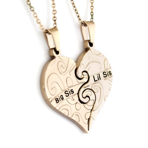 TZARO-Jewelry Sisters Heart Necklace, Necklace for Sisters, Sisters Necklaces Set (2pcs), 925 Silver Big Sis Lil Sis Pendant, 18