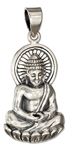 Sterling Silver Sitting Young Buddha Pendant
