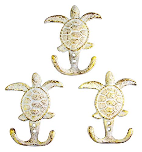 - Rustic White Sea Turtle Cast Iron Wall Hook 4 3/4 Inch (Set of 3)