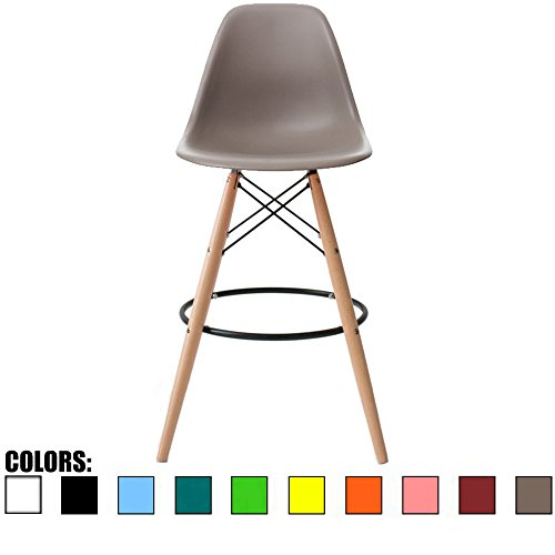 2xhome BarRay(Grey) Eames Style Modern Mid Century Armless with Back Bar Stool Height Counter Chair with Natural Wood Legs 28 inches