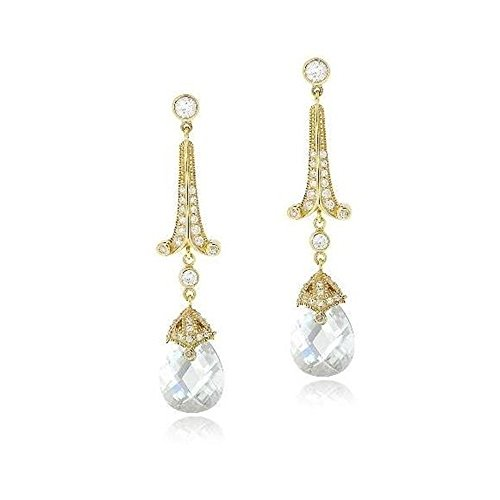 (Gold Tone Over Sterling Silver 18Ct Light Blue & Clear Cubic Zirconia Estate Dangle Earrings )
