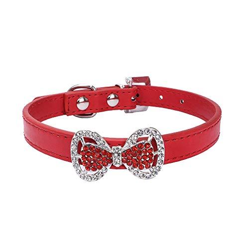Pet Collar Adjustable Dog Bowknot Diamond Dog Cat Puppy Collar Leather Duseedik]()