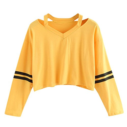 FDelinK Women's Loose Striped Long Sleeve V Neck Crop Top Casual Blouse T-Shirt (Yellow, M)