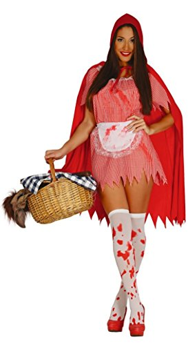Ladies Killer Red Riding Hood Halloween Zombie Twisted Fairy Tale Blood Stained Fancy Dress Costume Outfit 14-18 (Large)]()