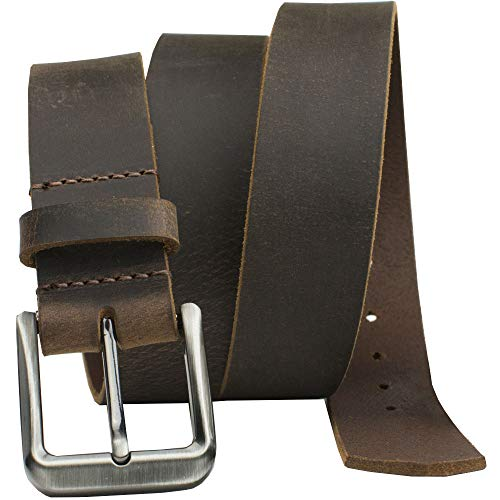 Roan Mountain Distressed Leather Belt - Nickel Smart - Brown Genuine Full Grain Leather Belt with Nickel Free Buckle - 46