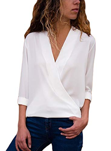 Asyoly Women Casual Wrap Front V Neck Long Sleeve Loose Fit Basic Blouse T Shirt Tops