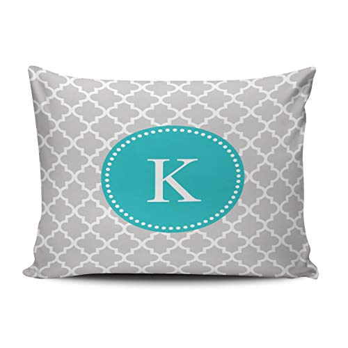 XIAFA Home Custom Pillowcase Grey Teal Moroccan Monogram Simple Decorations Sofa Throw Pillow Case Cushion Cover One Sided Printed Design Standard 20X26 Inch (Set of 1) (For Sale Chair Peacock White)