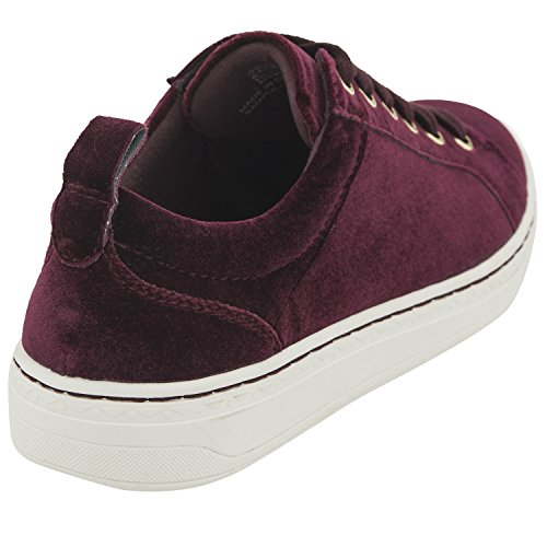Zag Sneakers Up Lace Velvet Low Earth Top Womens Fashion Burgundy ZfU5qxan