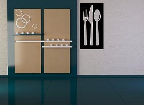 Conjunto de cuberteria en transparente rectangulo color de fondo adhesivo pared 01 - 50cm Altura - 50cm Ancho - Negro Vinilo: Amazon.es: Coche y moto