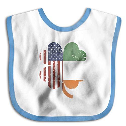 American And Ireland Flag In Irish Shamrock Blue Custom Baby Bandana Drool Bibs, Boys/Girls Burp Cloths for Drooling and Teething