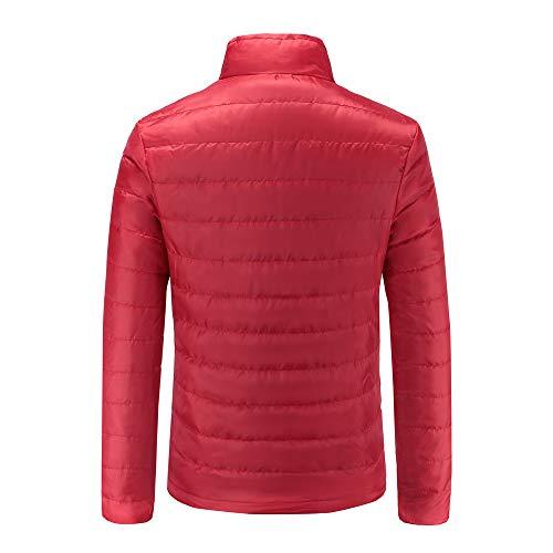 Chaud Manteau Coton Hommes Rouge Stand Épais Tefamore Zipper Veste Hiver SIvqw