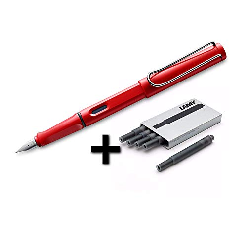 Lamy Safari Fountain Pen (16F) Hot Red + 5 Black Ink Cartridges