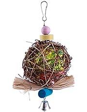 UKCOCO Rattan Naturale Ball gabbia per uccelli giocattolo, atossico masticare giocattolo per pappagalli, Cocorite Kg, Nymphe sittiche, sittiche, finken, Australiani, Aras, Grigio Pappagalli
