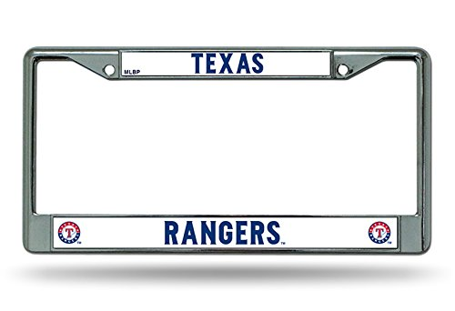 Texas Rangers NEW DESIGN Chrome Frame Metal License Plate Tag Cover ()