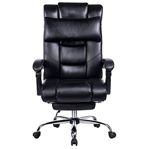 VANBOW Reclining Office Chair - High Back Bonded Leather Executive Chair with Retractable Footrest, Removable Pillow, Adjustable Angle Recline Lock System, Ergonomic Design, Black by VANBOW (Image #3)