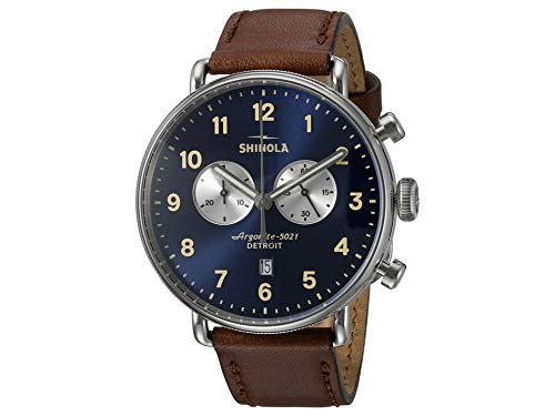 Shinola Detroit Men's The Canfield 43mm - 20001940 Midnight Blue/Dark Cognac