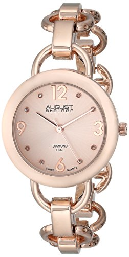 August Steiner Women's AS8132RG Rose Gold-Tone Watch with Link Bracelet