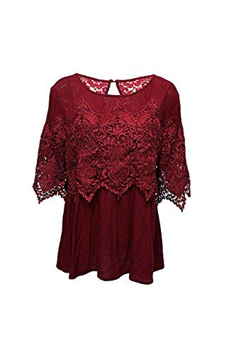 Barco cuello 3/4 camisa de encaje Floral Yacun mujeres